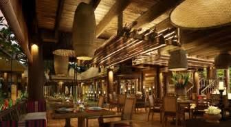 southeast asian wood restaurant interior design rendering 3d house