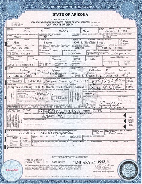 State Of Arizona Records Birth Certificates Source Citations Pafc01 Generated By Ancestral Quest