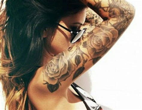 women rose tattoo sleeve inspiration ideas