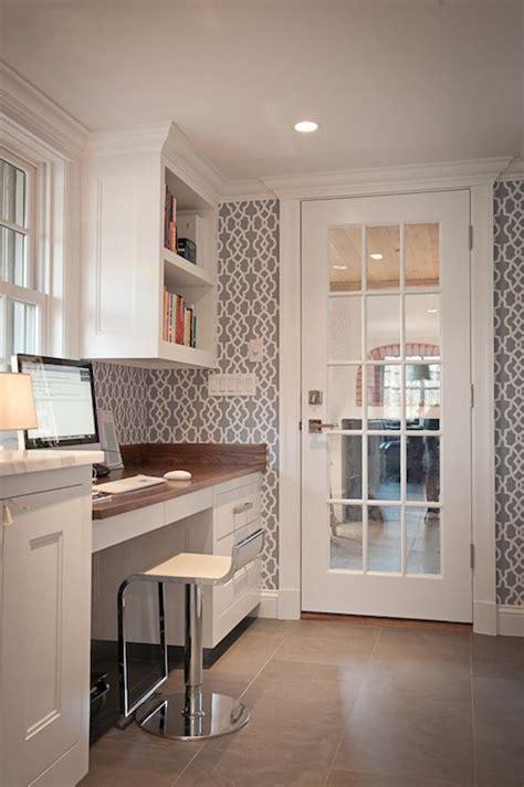 gray trellis wallpaper transitional kitchen jcs