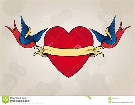 heart tattoo old school vector tattoo style swallows with heart old school stock photo