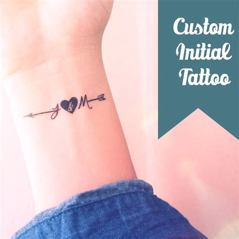 couples initials tattoos set of 2 custom initial arrow temporary by inknart