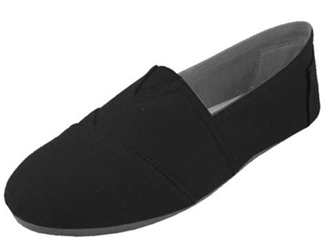 s black easy slip on flat casual canvas shoes slippers