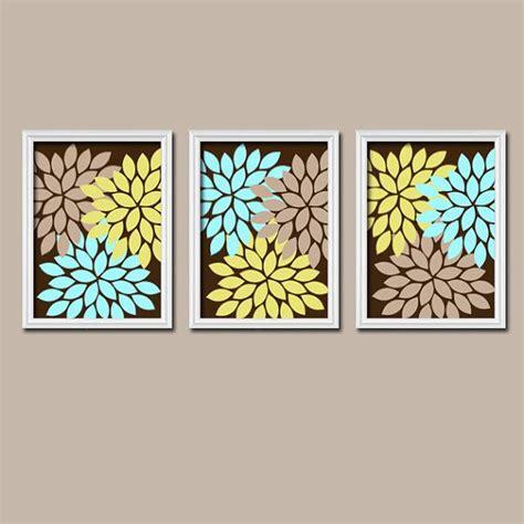 abstract bathroom wall art brown beige aqua blue lime green flower burst dahlia