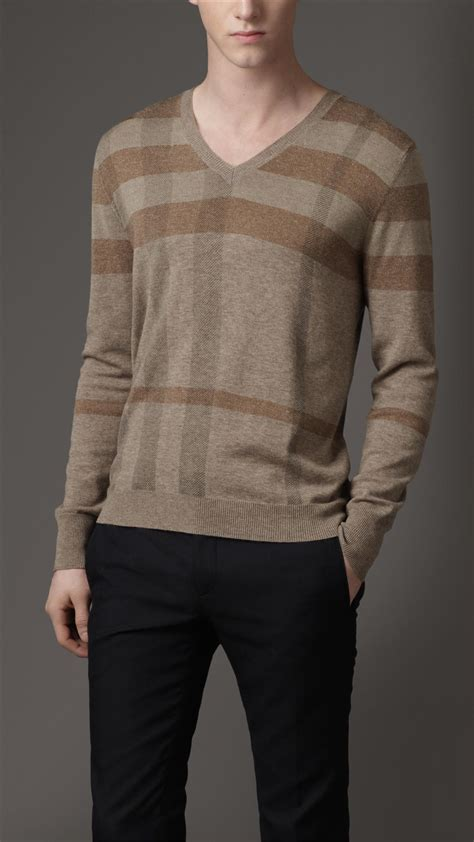 check on sweater burberry check shoulder wool sweater in gray for mole