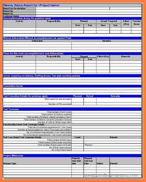 weekly test report template 6 software testing weekly status report template