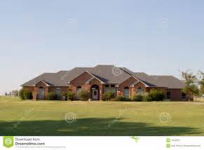 large ranch style homes modern large ranch style brick house stock image image