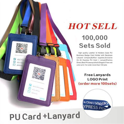 cheap card supplies leather id holders pu business badge card holder with