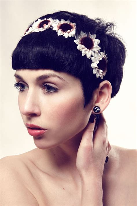 hairstyles with headband for short hair wedding hairstyles for short hair with sunflowers headband