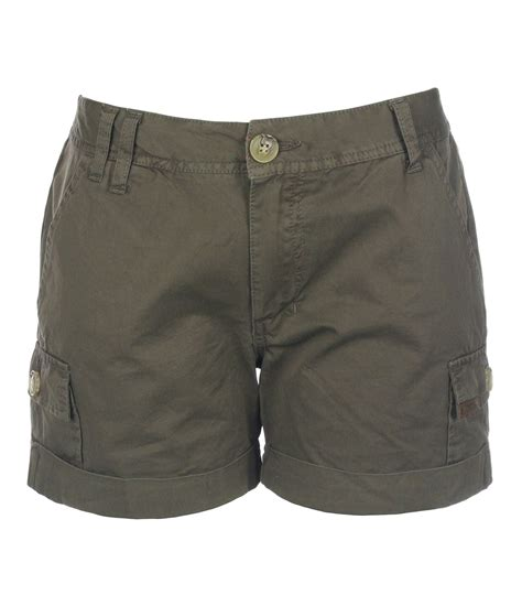 bench shorts womens bench womens ellenhall cargo shorts in green brown lyst