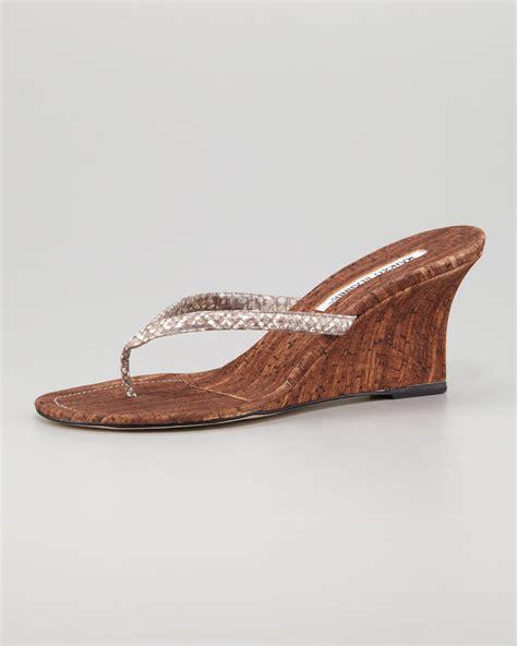 wedge sandal manolo blahnik patwedfac snakestrap wedge sandal in
