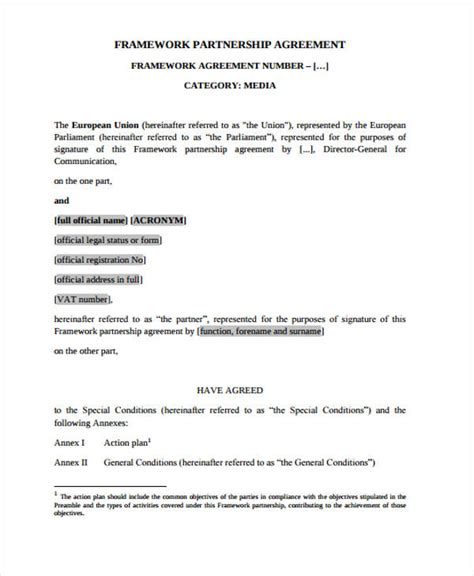 framework agreement template framework agreement templates 10 free pdf format