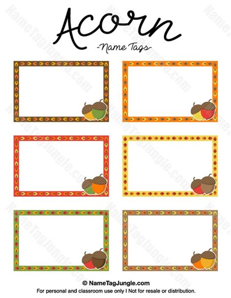printable autumn name tags free printable acorn name tags in fall colors the