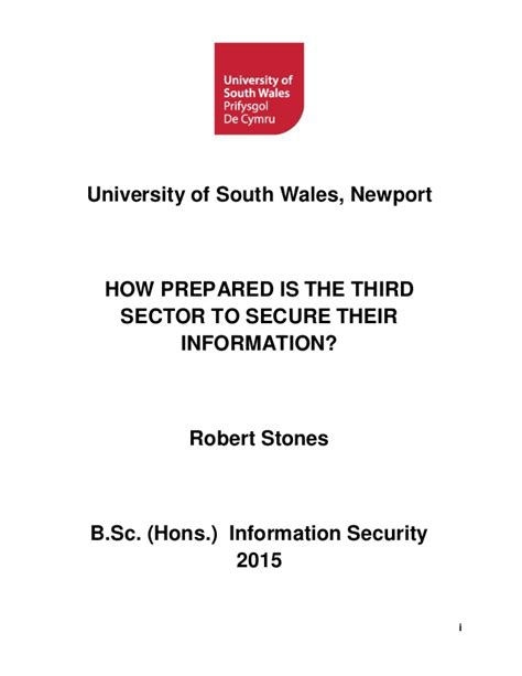 Of South Wales Mba by How Prepared Is The Third Sector To Secure Their