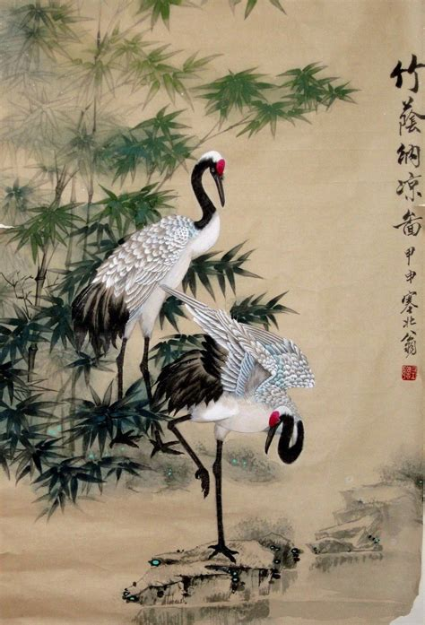 crane painting japanese crane pencil drawing search