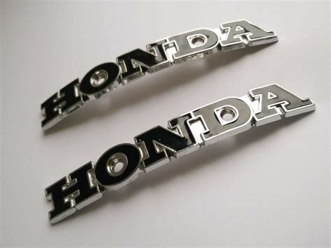 pair honda fuel gas tank emblem badge xmm  mount
