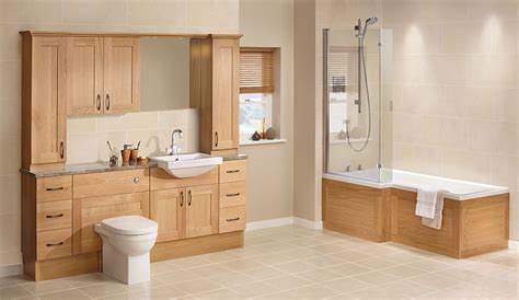 utopia timber golden oak fitted bathroom furniture ream