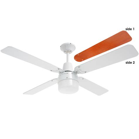 Heller 1200mm White Ceiling Fan 4 Wood Blades With Clipper Wooden Ceiling Fans With Lights