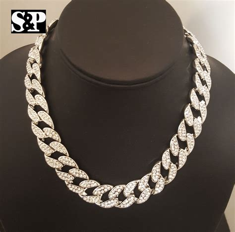 choke chain hip hop quavo silver pt iced out 15mm 16 quot miami cuban choker chain necklace ebay