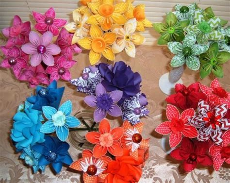Paket Paper Flower Ready Stok 1 paper flower bouquet 7 stem kusudama origami you the color yellow blue green