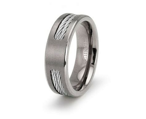mens titanium dual cable inlay engravable wedding band ebay
