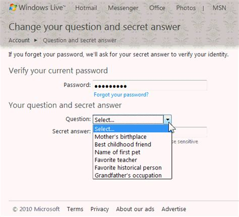 windows live reset password secret question hotmail security to protect and recover your account