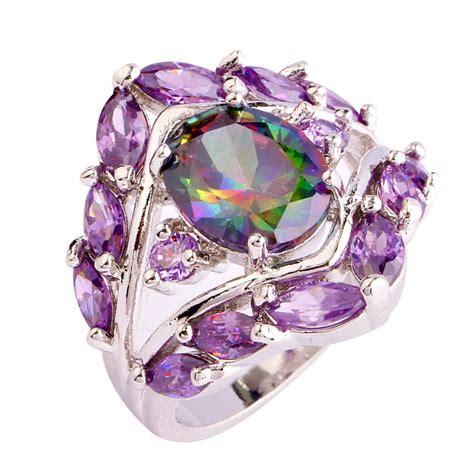 colorful rings 2016 fashion new jewelry for oval cut colorful