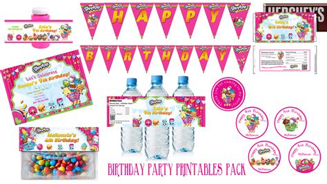 printable birthday supplies shopkins birthday party pack partyexpressinvitations