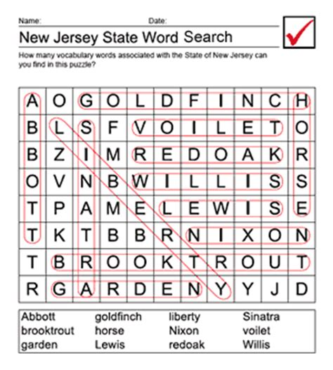 Search New Jersey Printable New Jersey Word Search Answer Sheet Us Geography For Elementary Teachers
