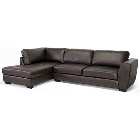 leather sectional left chaise orland sectional sofa dark brown leather left facing