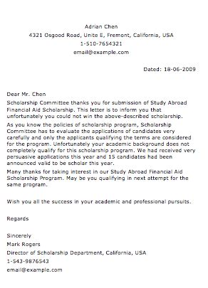 Scholarship Rejection Letter Format sle rejection letter smart letters