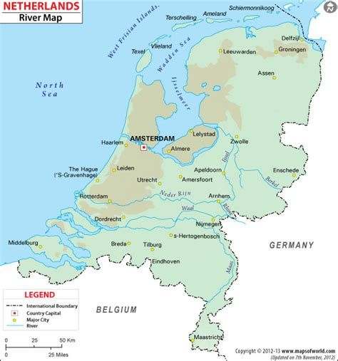 netherlands mountains map netherlands river map
