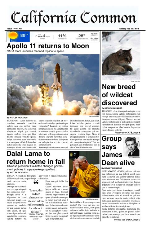 newspaper layout person world history december 2014