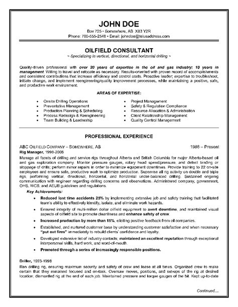 Oilfield Resume Sles oilfield consultant resume exle page 1 resume writing