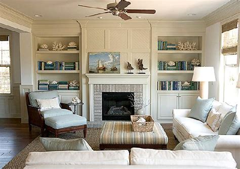 striped ottoman cottage living room