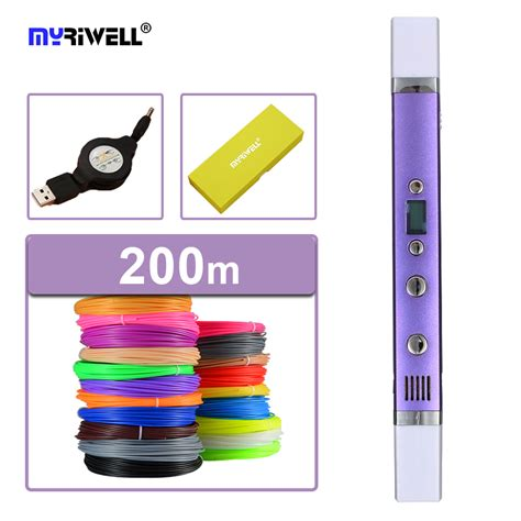 3d Doodler Magic Pen With Pla Abs Filaments myriwell 3d printer pen 3d pens 3d pen doodler magic 3d printed pen 5v2a usb charging 1 75mm abs
