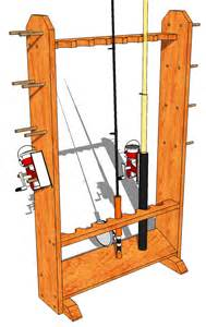 fishing rod stand 147 3d woodworking plans3d