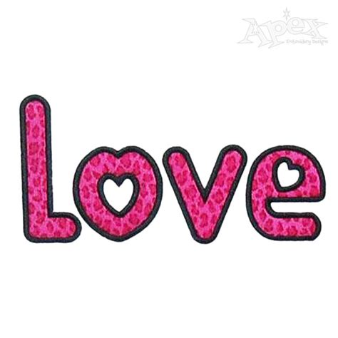 i love the applique i love you embroidery design