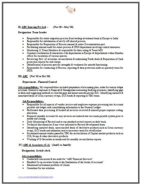 financial analyst resume format 10000 cv and resume sles with free