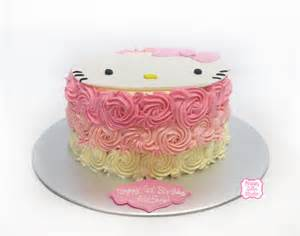 hello kitty cake with ombre buttercream swirls happy cake studio