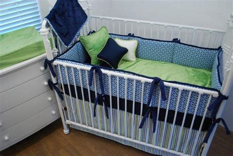 Navy And Green Crib Bedding Blue And Navy Crib Bedding With Green Velour Blanket And Changing Pad Sheet Sports Theme