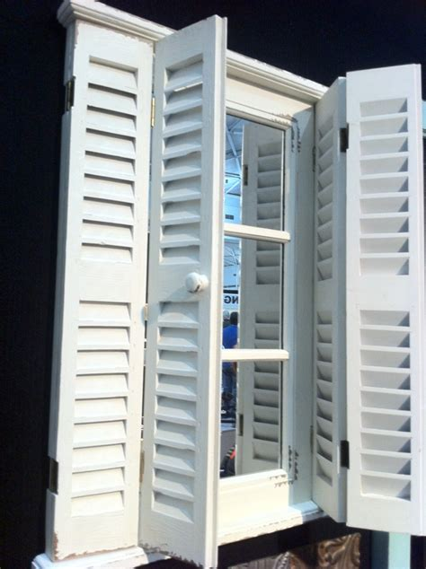 home interior pictures wooden shutter mirror ebay coastal flair new french wood window mirror with shutters shabby ebay