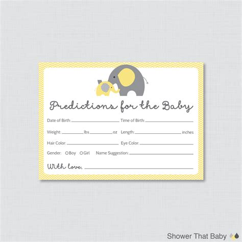 Weight Of A Gift Card - elephant baby shower prediction cards instant download