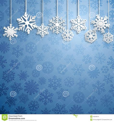 hanging snowflakes background with hanging snowflakes stock vector