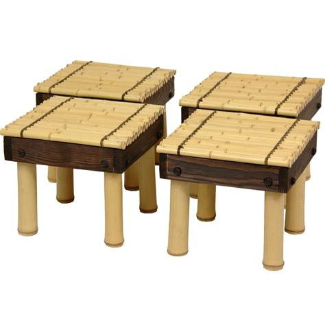 Coffee Table With Four Stools by Furniture Zen Bamboo Coffee Table With Four