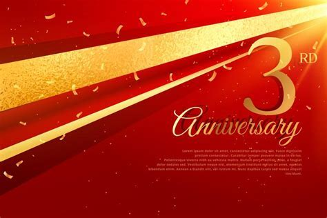 3rd anniversary celebration card template   Download Free