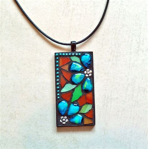 stained glass mosaic pendant necklace with aqua blue flowers