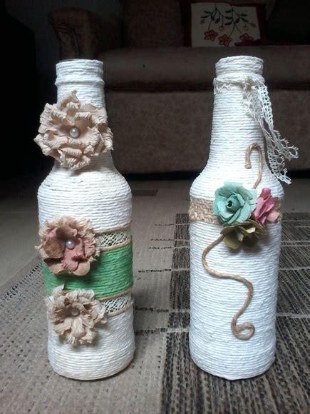 1 par de garrafas decoradas com barbante mar mel artes