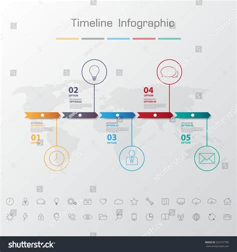 numbers timeline template shadow design clean number timeline template graphic or