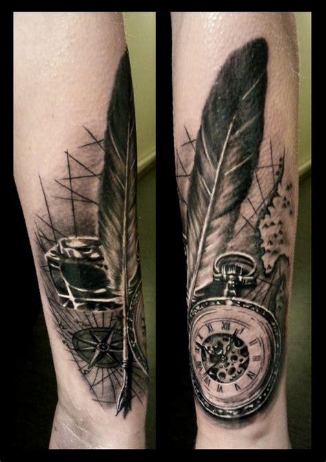 tattoo feather clock trueartists sabelink tattoo brumunddal